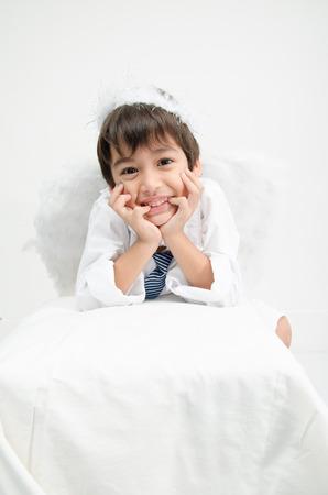pretend: Little boy portrait pretend as cupid with wing