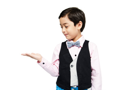 handsome boy: littly boy showing empty hand up on white background Stock Photo