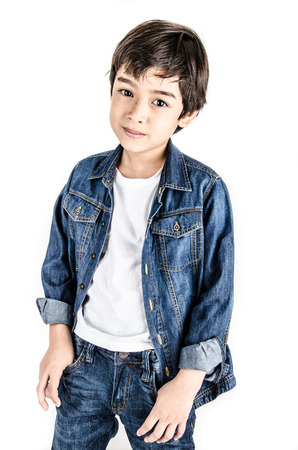 Little boy in jean cloth fashion isolate on white background clarity filter light photo