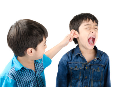 Little sibling boy fighting by pulling ear his brother on white background
