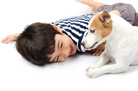 jack russel: Jack russel with kid playing together Stock Photo