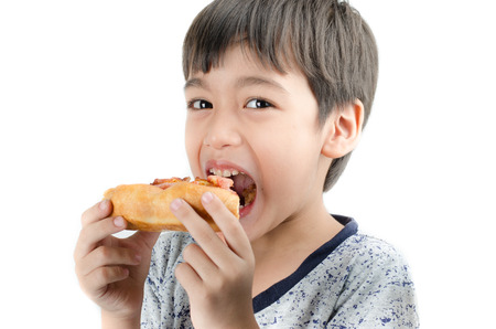 family with one child: Little boy eating pizza on white background