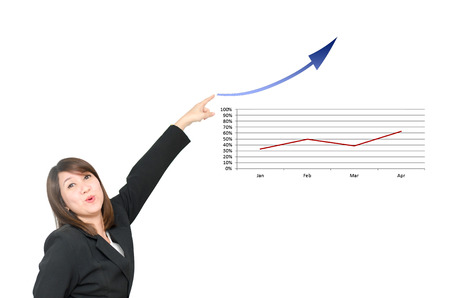 commision: Asian business woman point to business chart  grow up