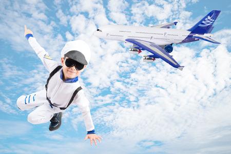 pretend: Little boy pretend as an astronout pilot