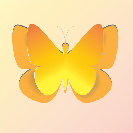 spring out: Orange Butterfly paper blend shadow cardboard