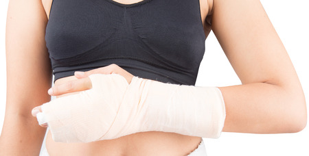 elbow band: Woman in accident bone in finger broken from work out