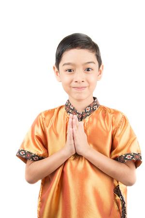 thai boy: Little Thai boy in classic national with praying