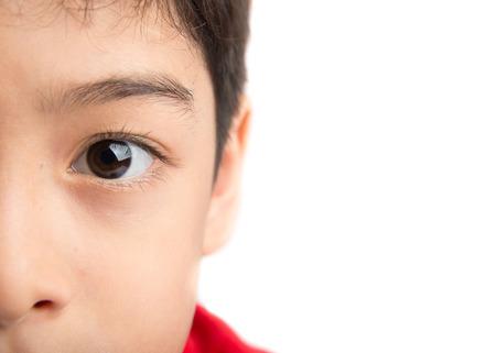 contact lens: Close up eyes of boy