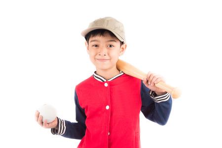 baseball caps: Little boy taking baseball bat on white background Stock Photo