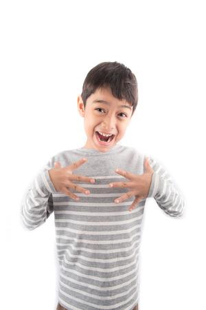 asl sign: SCARE ASL Sign language Stock Photo