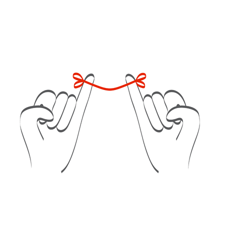 Little pinky fingers promise relationship with red thread Vectores