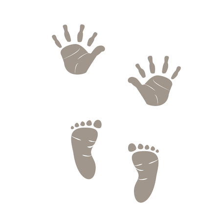 symbol hand: Baby-foot print graue Farbe Illustration