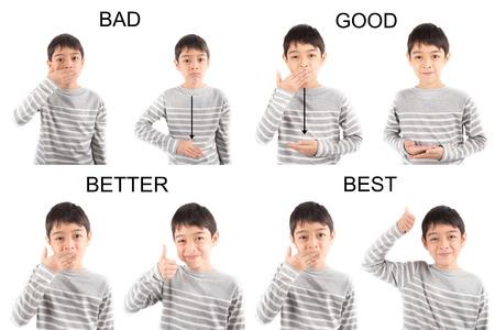 asl sign: kid hand sign language on white background