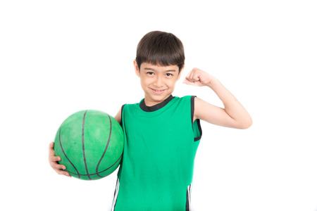 Little boy playing greea basketball in green PE uniform sport  on white background
