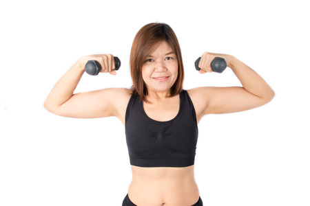 bod: Woman lifting dumbbell weight training to get strong and remove fat