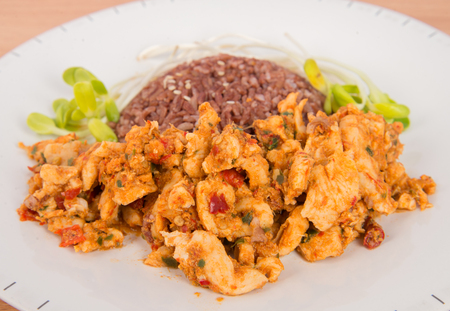 none: Fried chilly paste with chicken and vegetable fresh sunflower plant none oil added healthy clean food