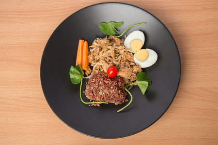 clean food: Spicy Tuna salad with brown healthy rice and boiled egg clean food