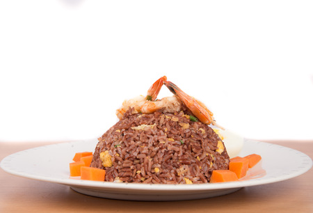 none: Fired brown rice with shrimp, carrot  and boiled egg healthy clean food none oil added low fat