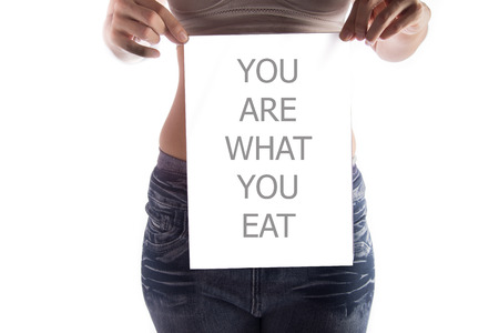 what to eat: Woman taking A4 paper with word you are what you eat