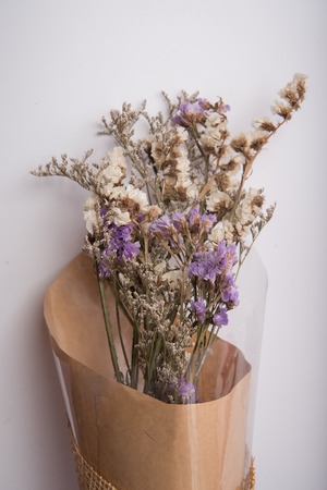 dried flower arrangement: Dry flower bouquet on white background vintage color style Stock Photo
