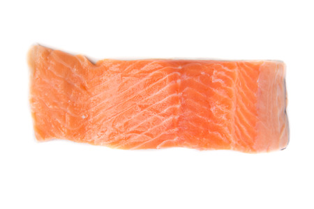 pieace of Fresh salmon on white background Stock Photo