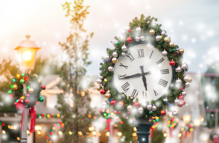 Clock with christmas decoration