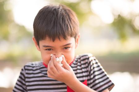 Weinig jongen die weefsel van allergie-infectie in het park gebruikt