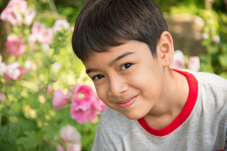 Little boy smelling flower in the park Stock Photo