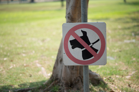 Sign of not allow dog walk in the public park