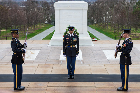 Changing of the Guard at Tomb of the Unknowns, Arlington National Cemetery, Washington DC, USAWASHINGTON DC, USA - APRIL 01, 2018: Changing of the Guard at Tomb of the Unknowns, Arlington National Cemetery. The guard change is very symbolic, respectful, a