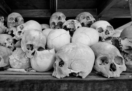 Skulls in the monument at The Killing Fields at Choeung Ek, Cambodia Stock Photo