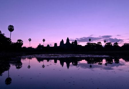 Angkor Wat silhouette reflected at sunrise