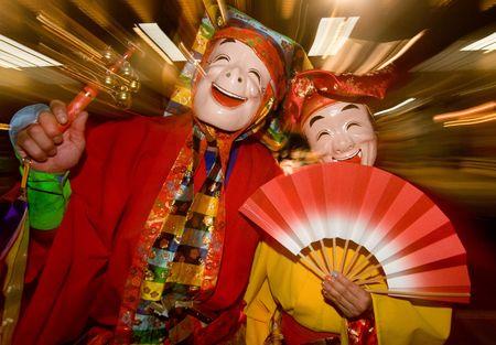 Masked Ohara Festival Dancers in Japan