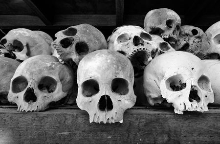 morbid: Human Skulls At The Killing Fields, Cambodia Stock Photo