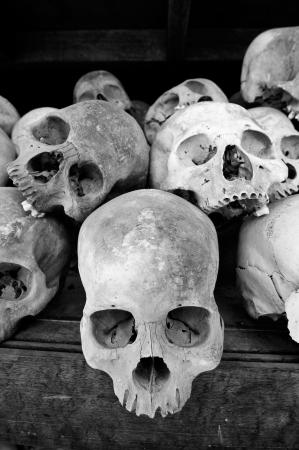 Human Skulls At The Killing Fields, Cambodia Stock Photo