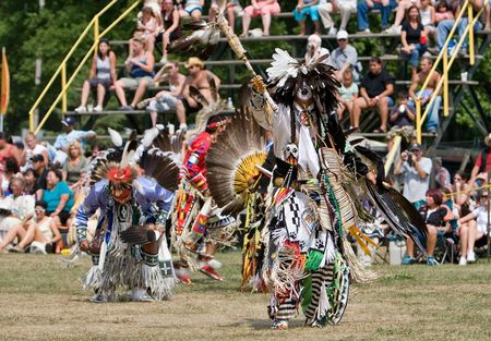 Ohsweken, Ontario, Canada, July 27, 2008. A Traditional dancerperforms during the Grand River Champion of Champions Powwow.