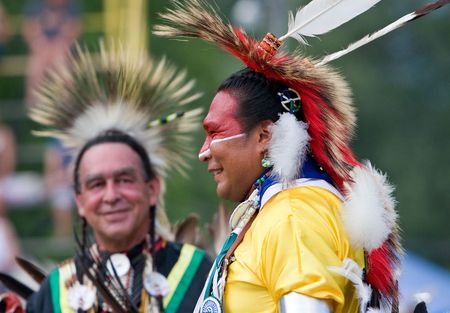 Ohsweken, Ontario, Canada, July 27, 2008. Traditional dancerswaiting for their dance to start during the Grand River Champion of Champions Powwow. Editorial