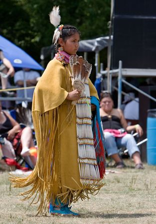Ohsweken, Ontario, Canada, July 27, 2008. A young Traditional or Buckskin Dancer performs during the Grand River Champion of Champions Powwow.
