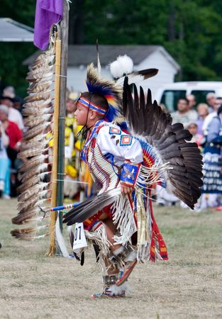 Ohsweken, Ontario, Canada, July 27, 2008. A young Traditional dancerperforms during the Grand River Champion of Champions Powwow.