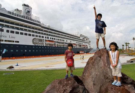 Kagoshima City, Japan, October 8, 2007 Local children come to see the first cruise ship to dock at the newly built marine port, the  ms Amsterdam