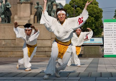 Kagoshima City, Japan, May 5, 2007. Dancers in white costume performing in the Daihanya Festival held in Kagoshima City, Japan.