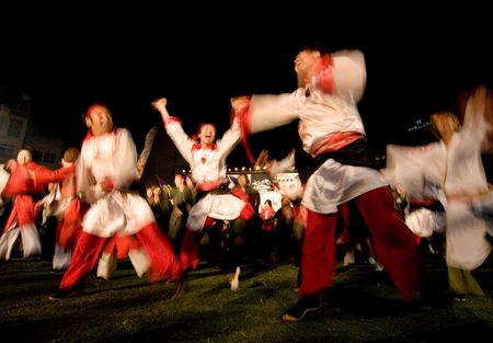 Kagoshima City, Japan, May 5, 2007. Dancers in white and red costume performing in the Daihanya Festival held in Kagoshima City, Japan. Editorial