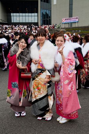 Kagoshima City, Japan, January 10, 2010.  Young Japanese women in kimono on Coming of Age Day (seijin no hi).
