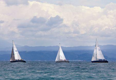 Kagoshima City, Japan, July 19, 2009. Sailboats participating in the Kagoshima Cup  yacht races