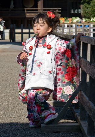 Miyazaki, Japan, November 23, 2007, Japanese Child in Kimono. Shichi-Go-San (七五三, seven-five-three) is a traditional rite of passage and festival day in Japan for three and seven year-old girls and three and five year-old boys, held o Editorial