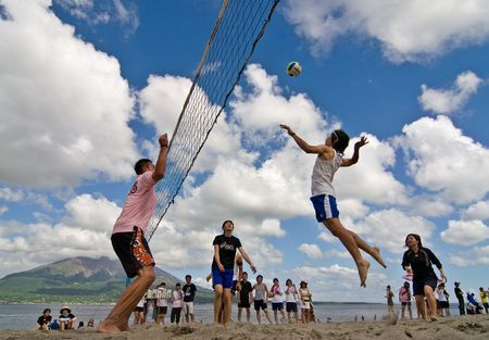 Kagoshima City Japan July 6 2007 A Male Volleyball Player Jumps To
