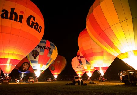 Saga, Japan, November 4, 2006, hot air balloons light up in unison for the  night glow at the yearly Saga Balloon Festival, Editorial