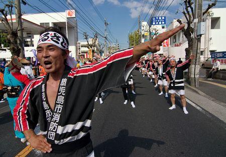 Kagoshima City, Japan, October 27, 2007. Japanese dancers in kimono perform onstage in the Taniyama Furusato Matsuri festival held in Kagoshima City, Japan. Stock Photo - 6935432
