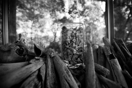 Teeth and bones sit in a display case at the Killing Fields, Cambodia