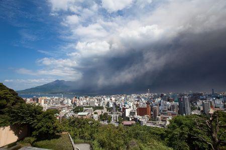 Kagoshima City, Japan, June 3, 2010. Winds bring ash to Kagoshima City during an eruption of the volcano Sakurajima June 3, 2010 in Kagoshima City, Japan.  Stock Photo - 7206169